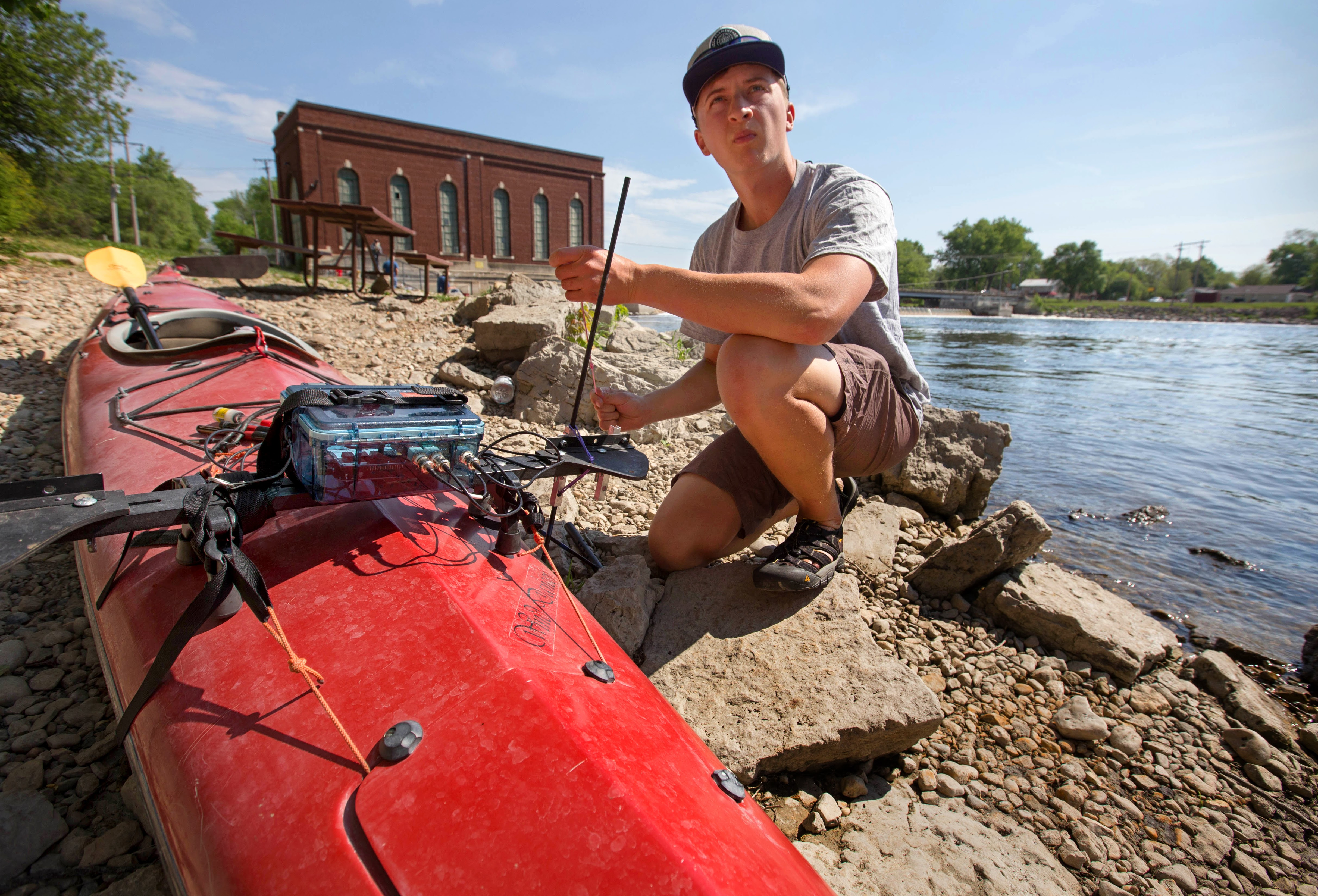Launching kayak at Indian Ford Dam. Photo by Craig Schreiner, UWW.