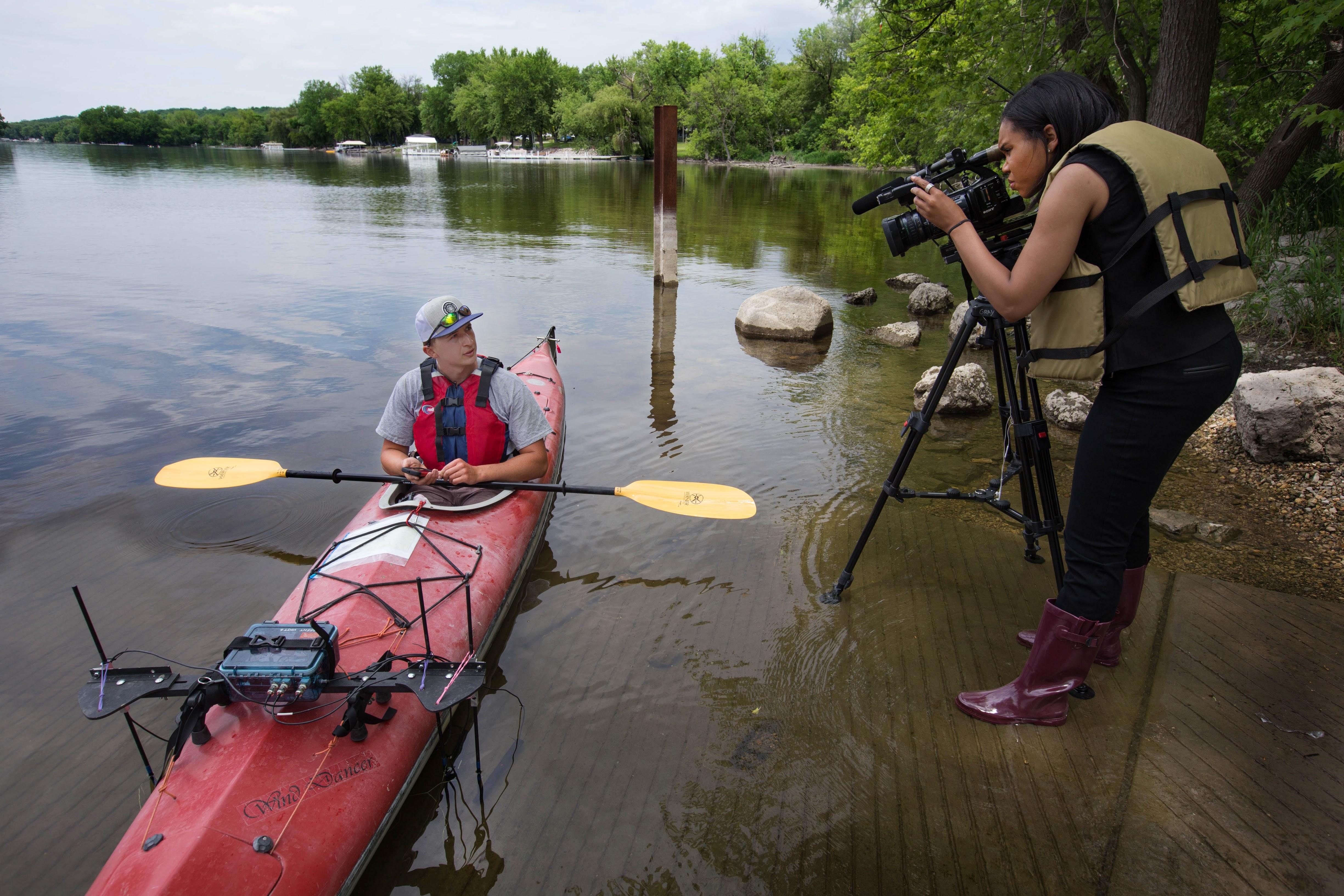 Jeff Smyczek, UWW undergrad, being interviewed. Photo by Craig Schreiner