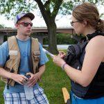 Porter VandeVorte, UWW undergrad, being interviewed. Photo by Craig Schreiner