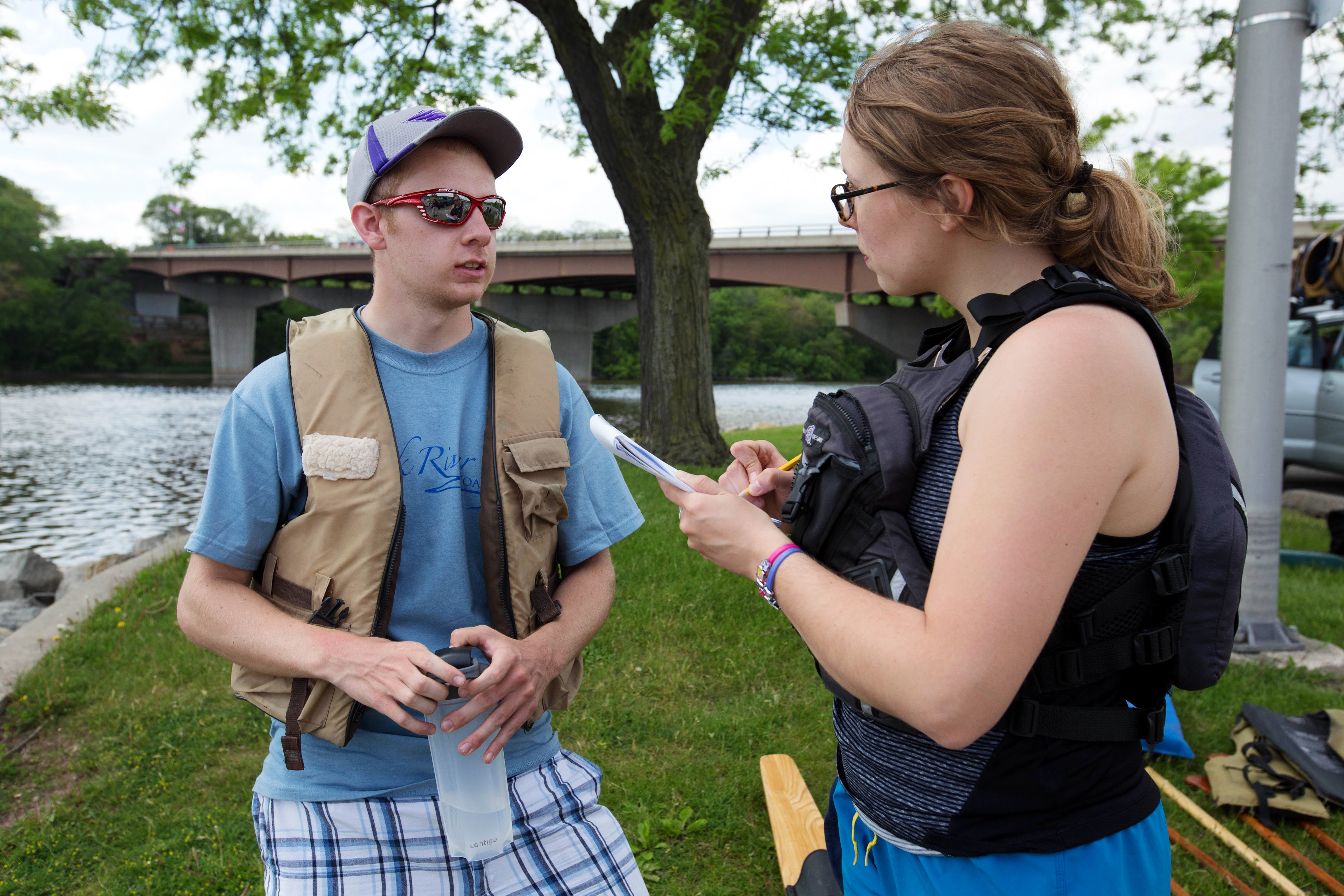 Porter VandeVorte, UWW undergrad, being interviewed. Photo by Craig Schreiner